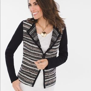 Chico's Textured Striped Cardigan Sweater Jacket